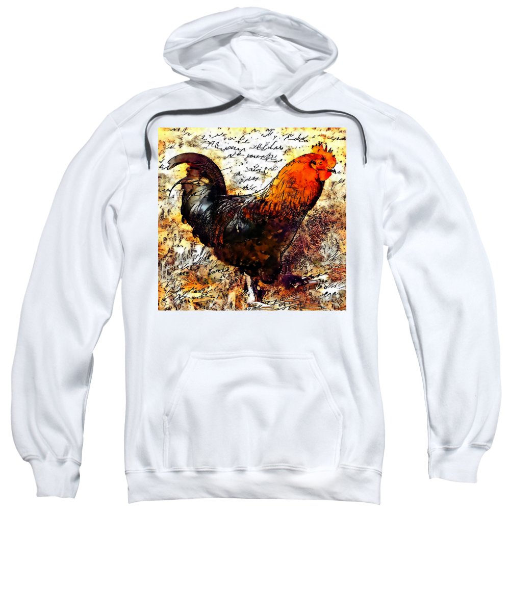 Rooster Sweatshirt featuring the painting Joey by Scott Gaspar