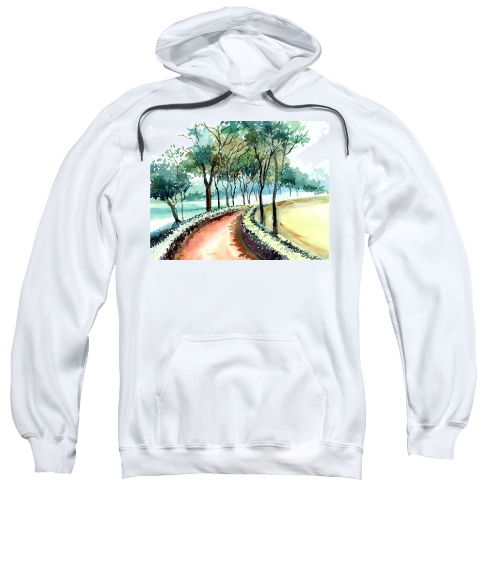 Landscape Sweatshirt featuring the painting Jogging Track by Anil Nene