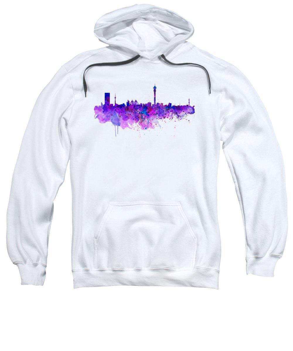 Johannesburg Sweatshirt featuring the painting Johannesburg Skyline by Marian Voicu