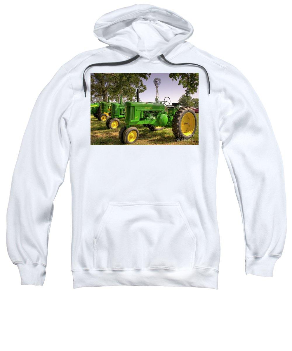 Vintage John Deeres Sweatshirt featuring the photograph John Deere Gathering by Michael Eingle