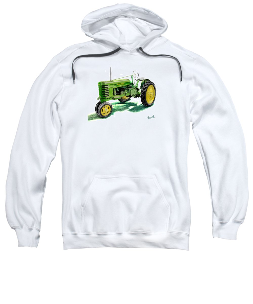 John Deere Tractor Sweatshirt featuring the painting John Deere Tractor by Ferrel Cordle