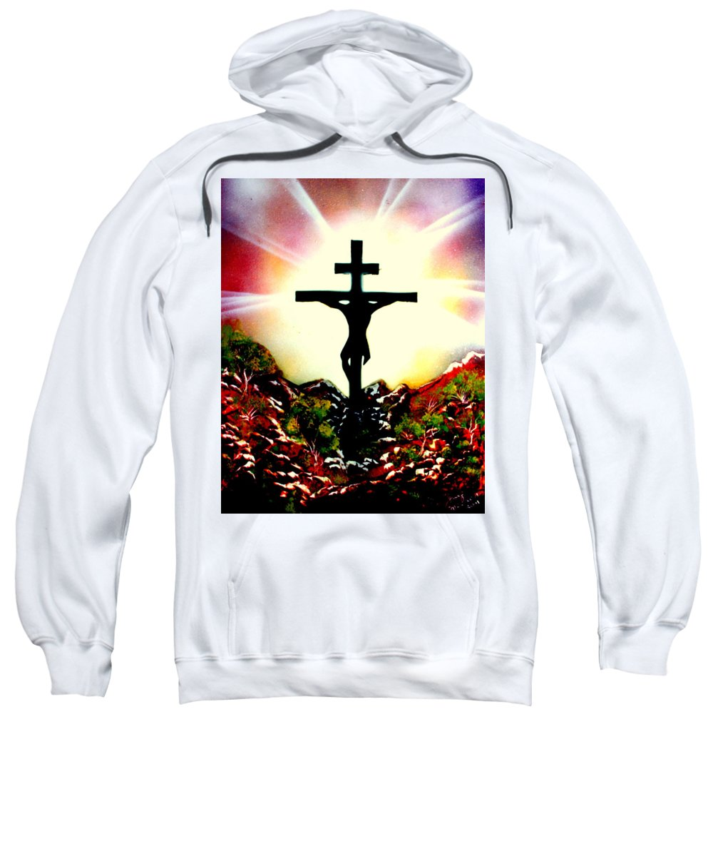 Christ Sweatshirt featuring the painting John Three Sixteen E by Greg Moores