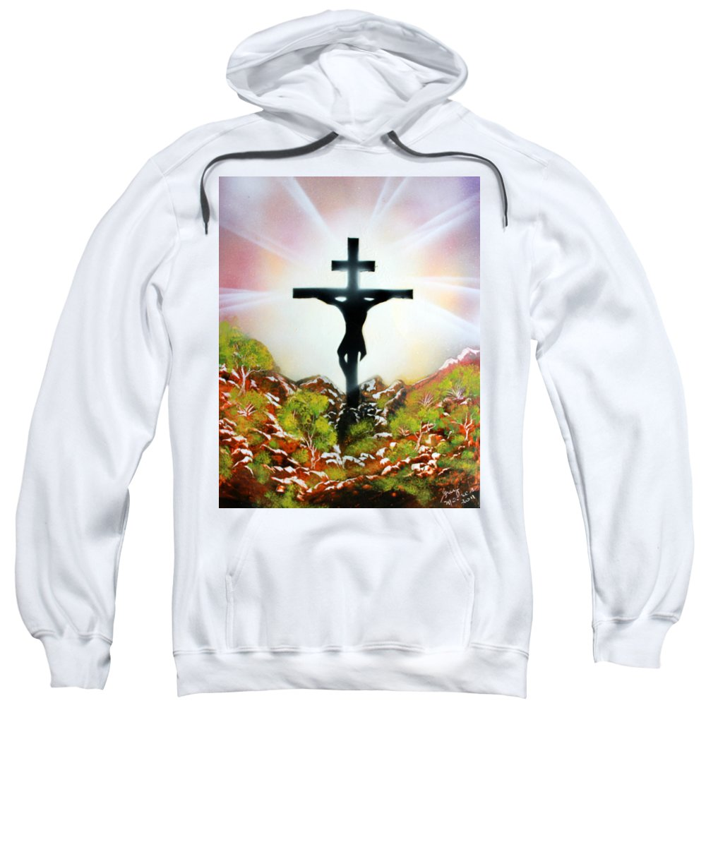 Christ Sweatshirt featuring the painting John Three Sixteen by Greg Moores