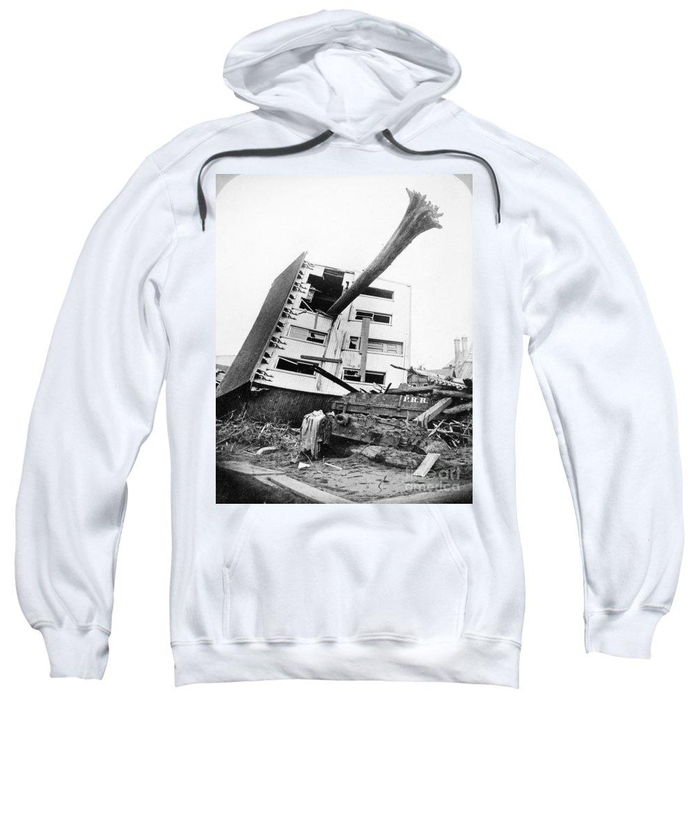 1889 Sweatshirt featuring the photograph Johnstown Flood, 1889 by Granger