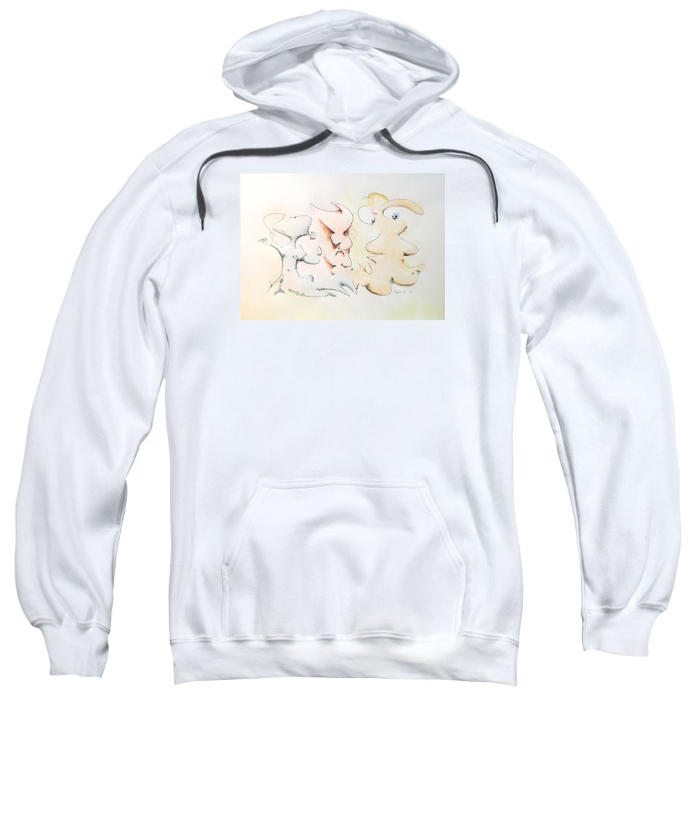 Watercolor Sweatshirt featuring the painting Judging Picasso by Dave Martsolf