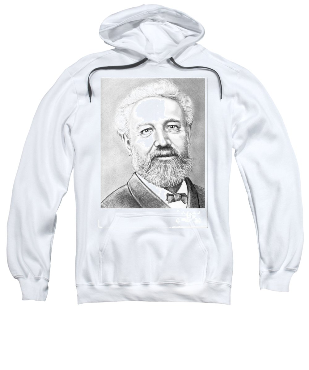 Jules Verne Sweatshirt featuring the drawing Jules Verne by Murphy Elliott