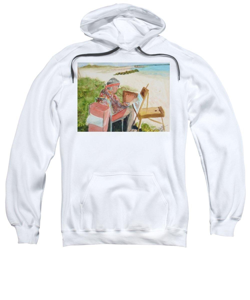 Painter Sweatshirt featuring the painting Julia Painting At Boynton Inlet Beach by Donna Walsh