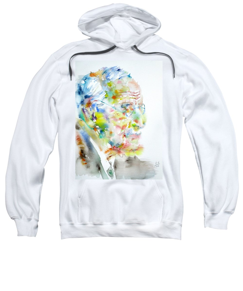 Jung Sweatshirt featuring the painting Jung - Watercolor Portrait.4 by Fabrizio Cassetta