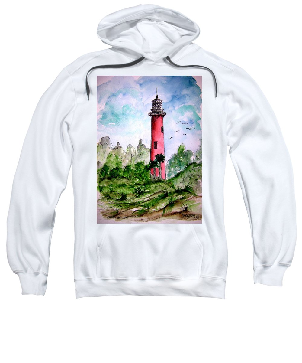 Lighthouse Sweatshirt featuring the painting Jupiter Florida Lighthouse by Derek Mccrea