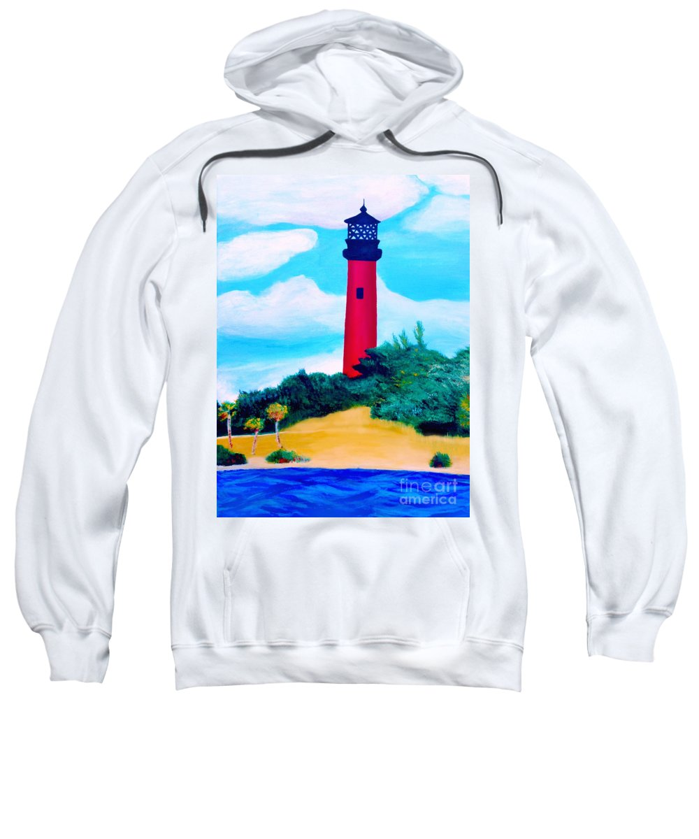 Jupiter Sweatshirt featuring the painting Jupiter Lighthouse by Ashley Baldwin