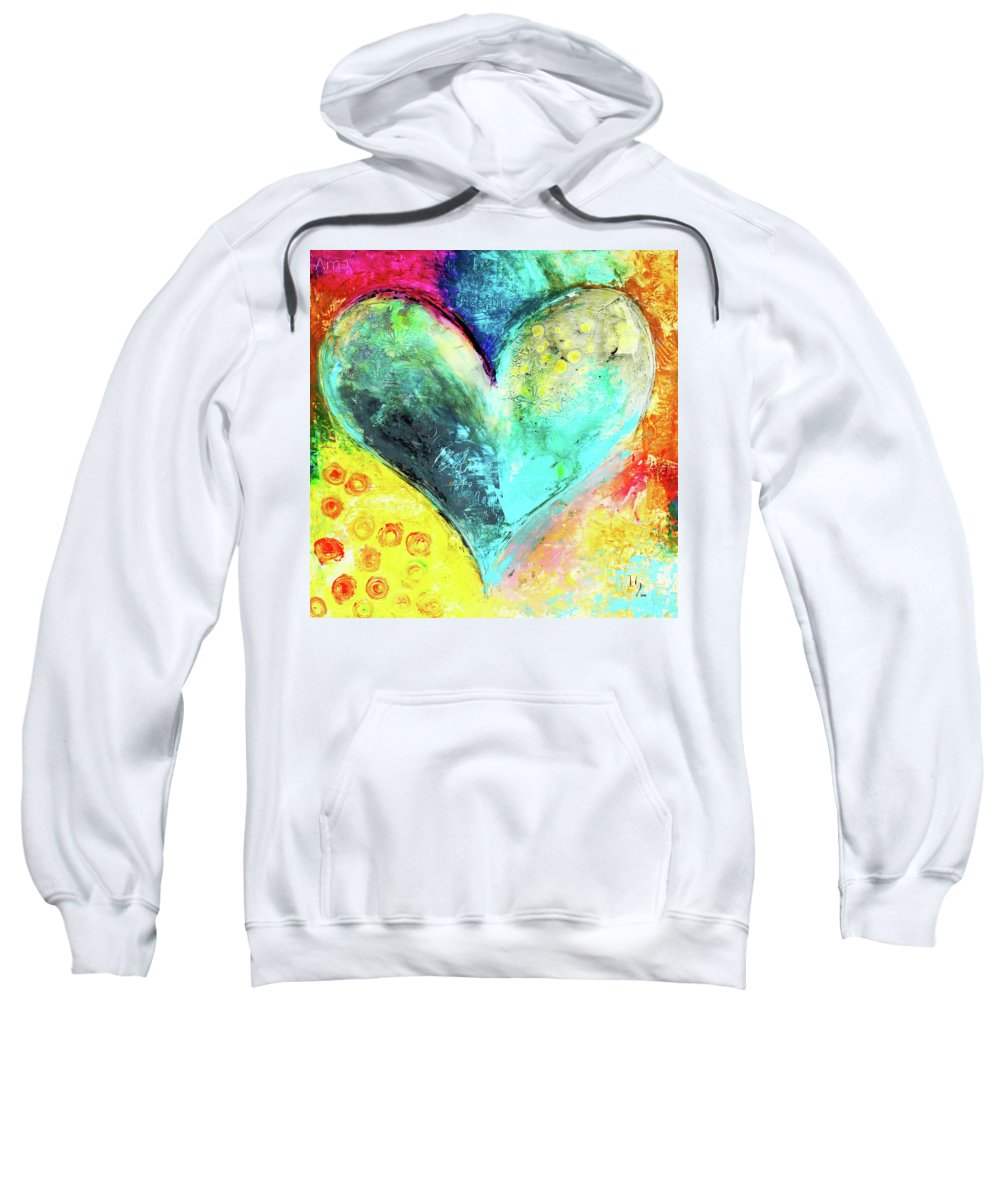 Heart Sweatshirt featuring the painting Just Beathe by Ivan Guaderrama