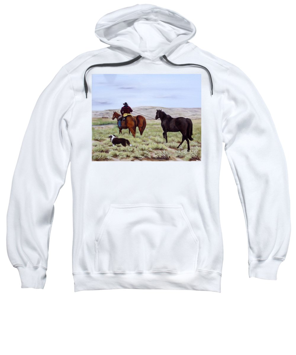 Art Sweatshirt featuring the painting Just Might Rain by Mary Rogers