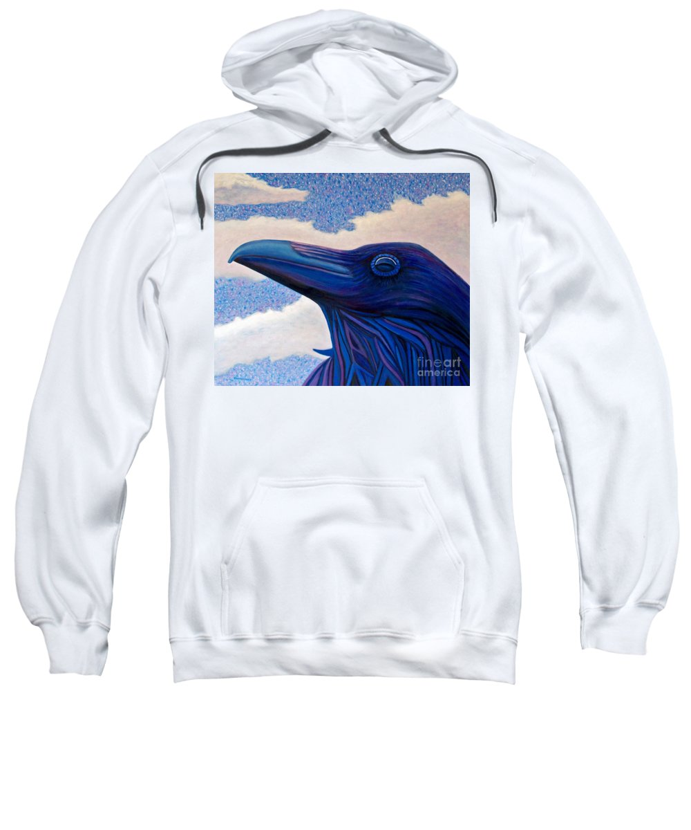Raven Sweatshirt featuring the painting Just Once by Brian Commerford