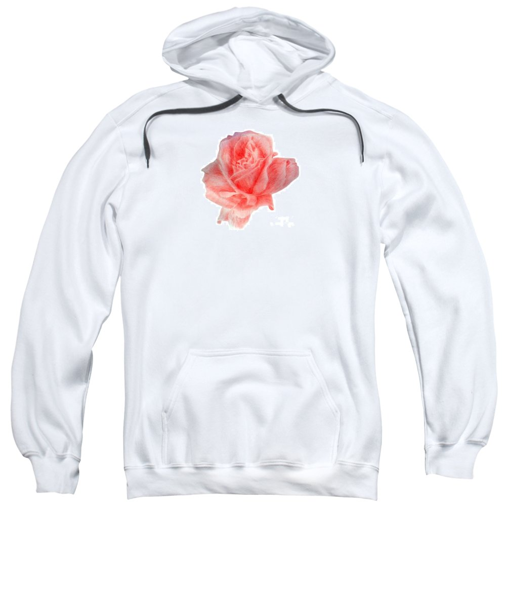Drawing Flower Rose Colored Pensils Paper Sweatshirt featuring the drawing Just Rose by Nadi Sabirova