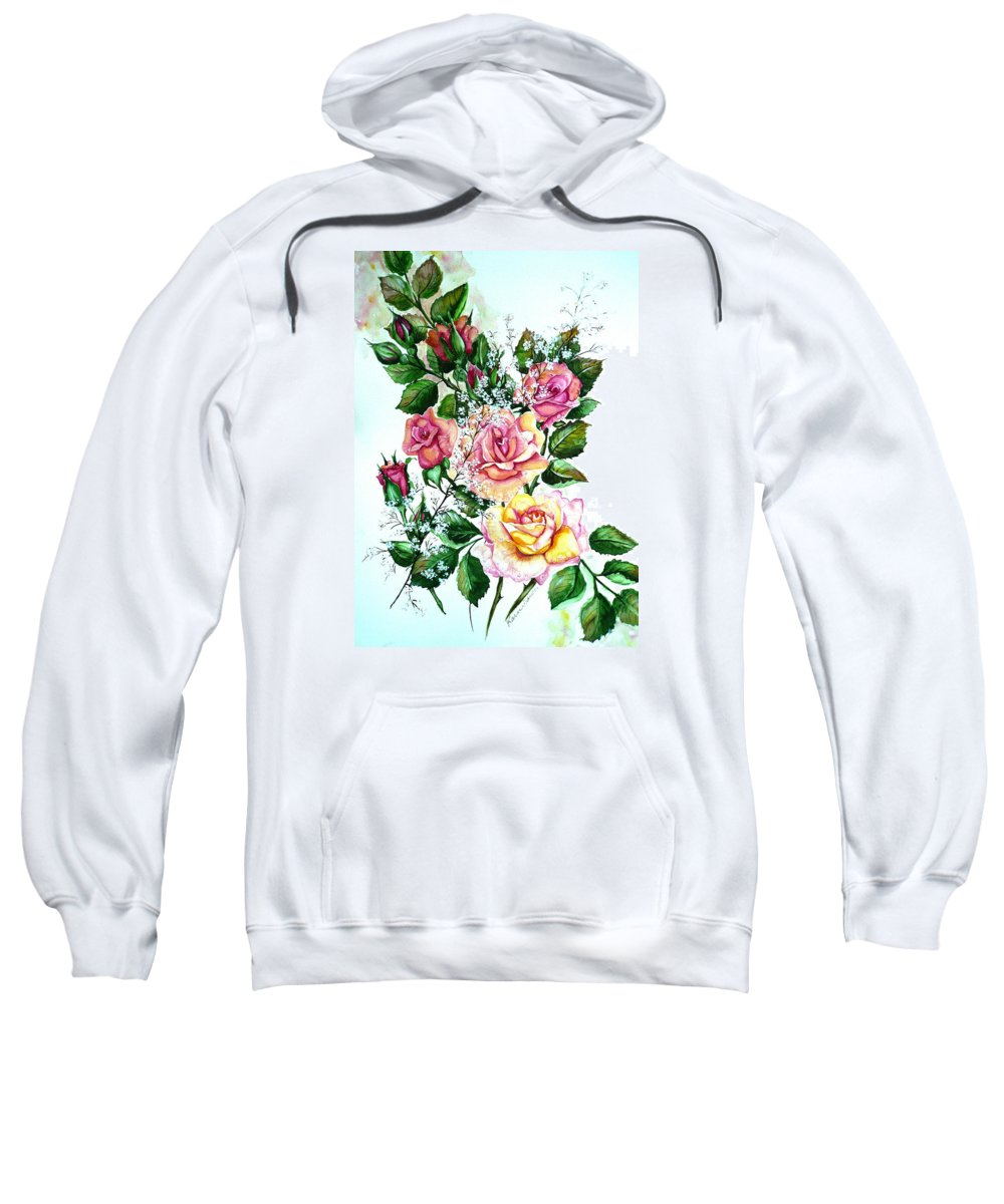 Floral Paintings Pink Paintings  Rose Paintings  Flower Paintings Botanical Paintings Greeting Card Paintings Canvas Prints Paintings Poster Prints Paintings Babies Breath Painting  Sweatshirt featuring the painting Just Roses by Karin Dawn Kelshall- Best