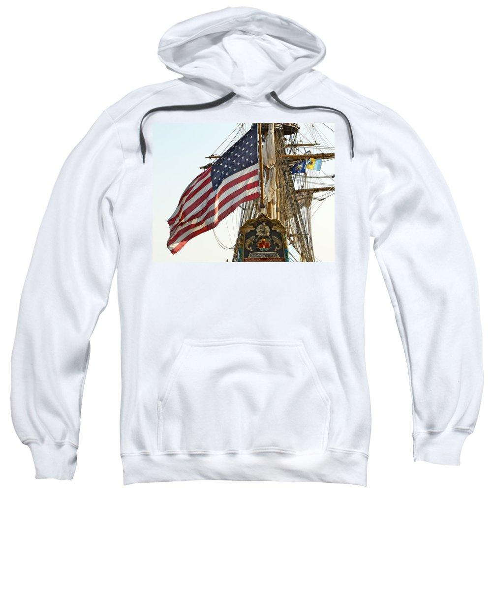 Kalmar Nyckel American Flag Tall Ship Wilmington Delaware Penns Landing Philadelphia Sweatshirt featuring the photograph Kalmar Nyckel American Flag by Alice Gipson
