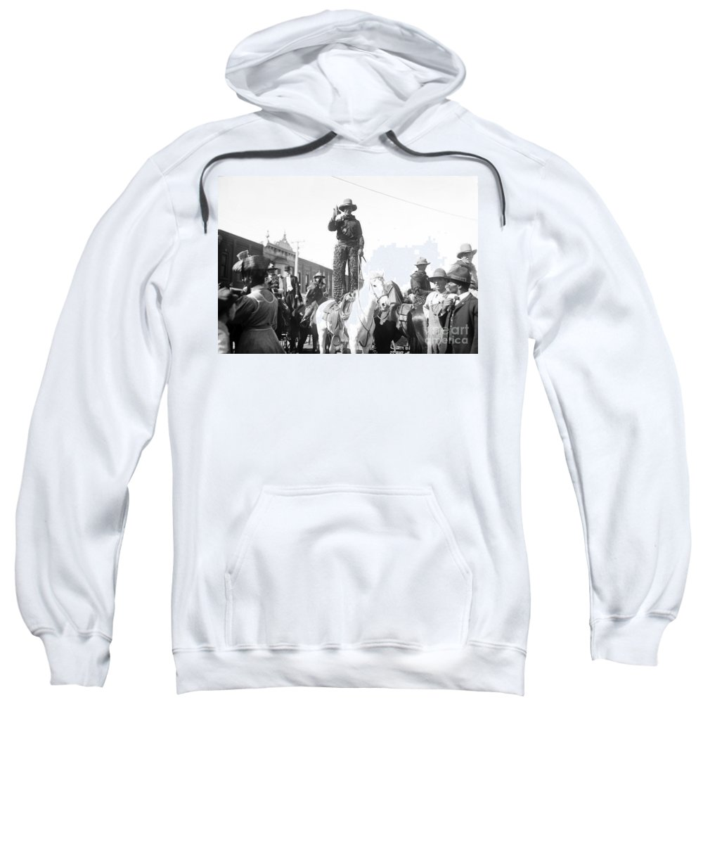 1908 Sweatshirt featuring the photograph Kansas: Cowboy, C1908 by Granger