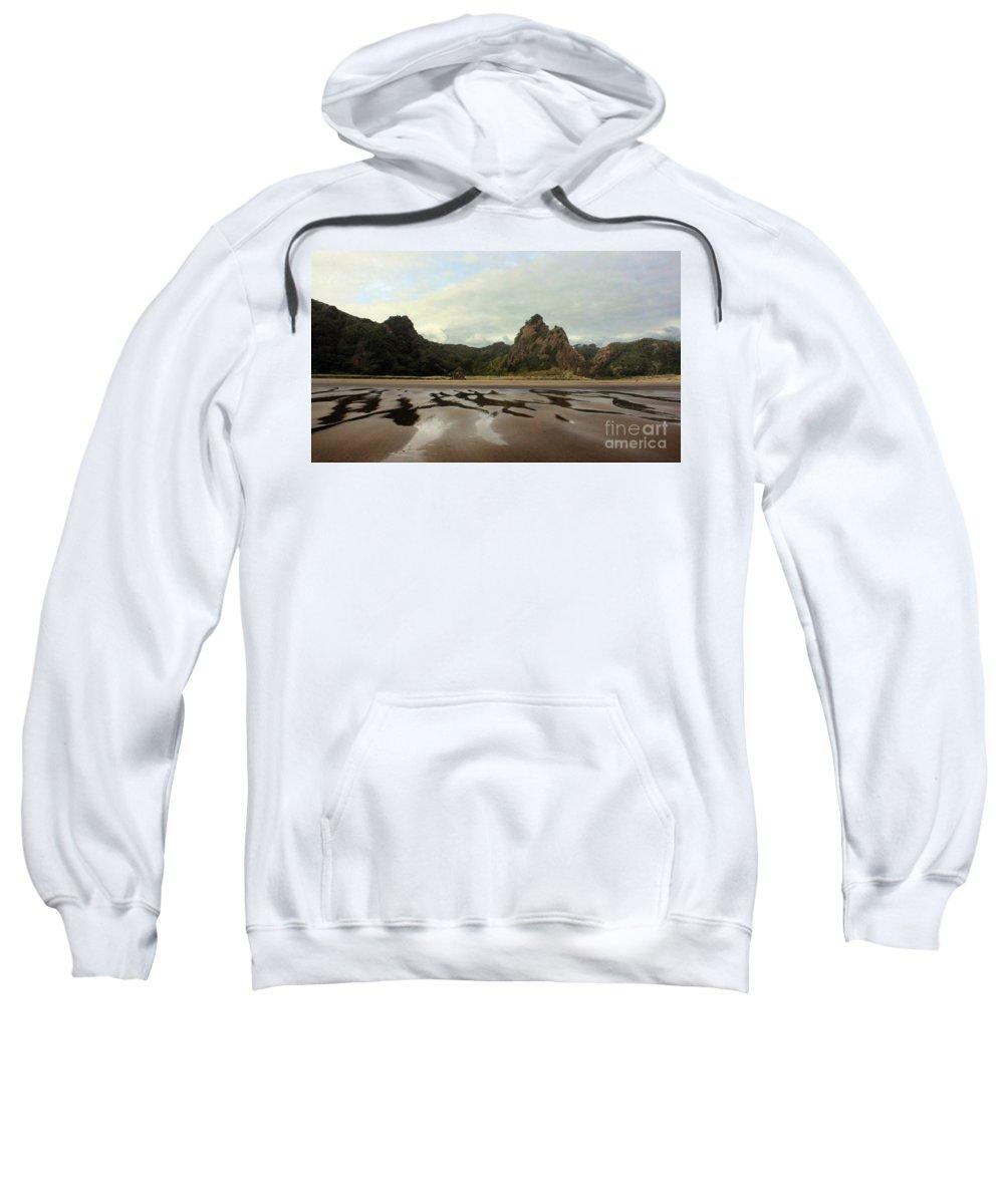 Karekare Sweatshirt featuring the photograph Karekare Beach by Gee Lyon