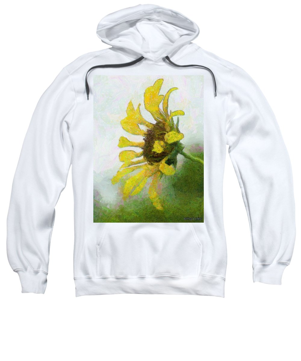 Sunflower Sweatshirt featuring the painting Kate's Sunflower by Jeffrey Kolker