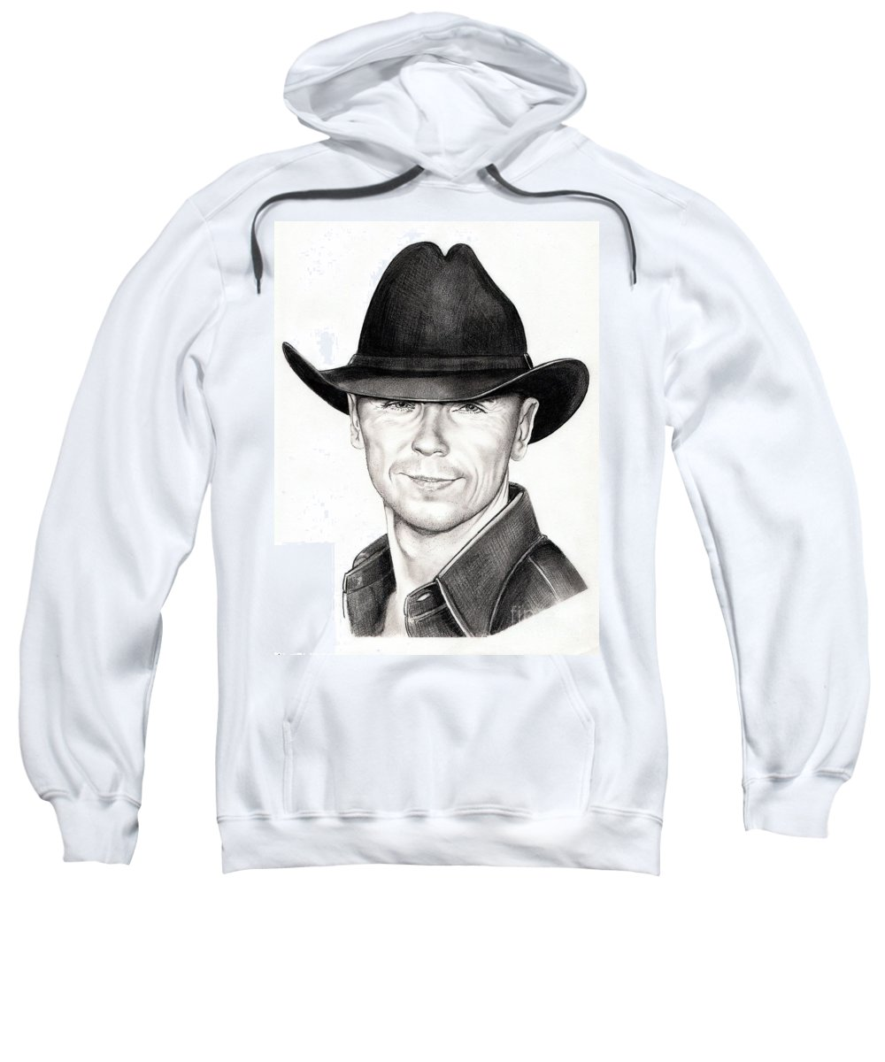 Portrait Sweatshirt featuring the drawing Kenny Chesney by Murphy Elliott