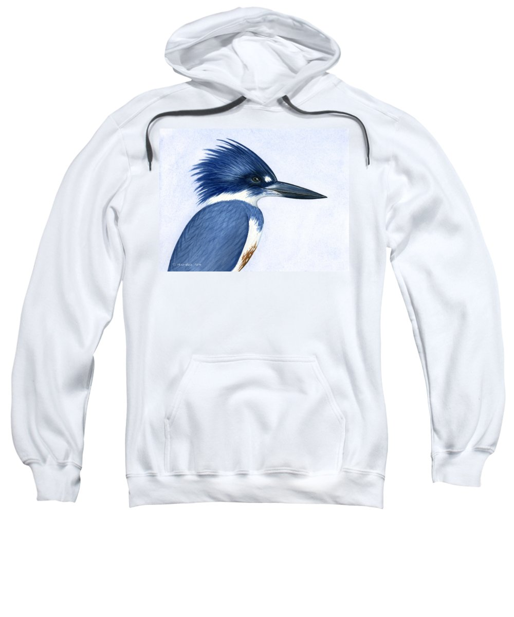 Kingfisher Sweatshirt featuring the painting Kingfisher Portrait by Charles Harden