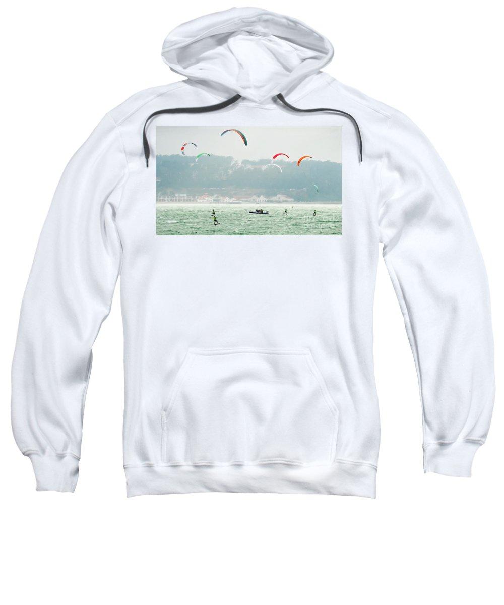 Kiteboarding Sweatshirt featuring the photograph Kiteboarding In The San Francisco Bay by David Oppenheimer