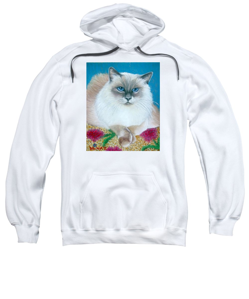 Cat Sweatshirt featuring the painting Kitty Coiffure by Minaz Jantz