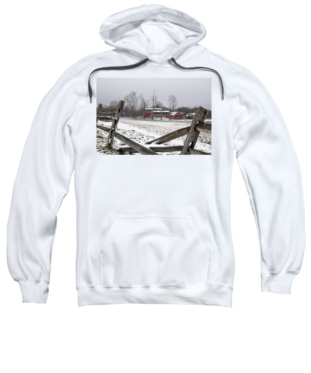 Barn Sweatshirt featuring the photograph Knox Farm In Winter 0980 by Guy Whiteley