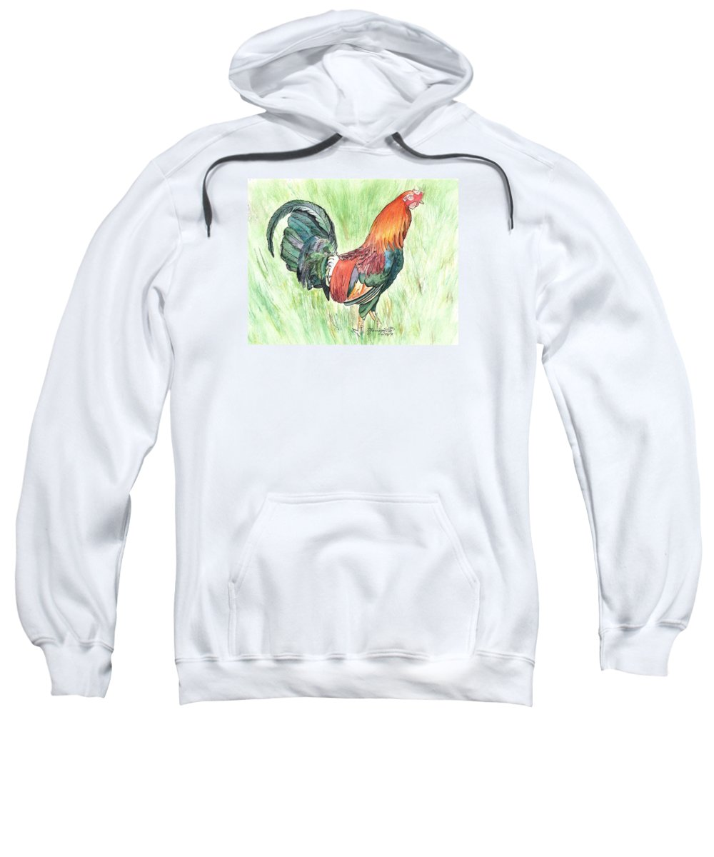 Roosters Sweatshirt featuring the painting Kokee Rooster by Marionette Taboniar