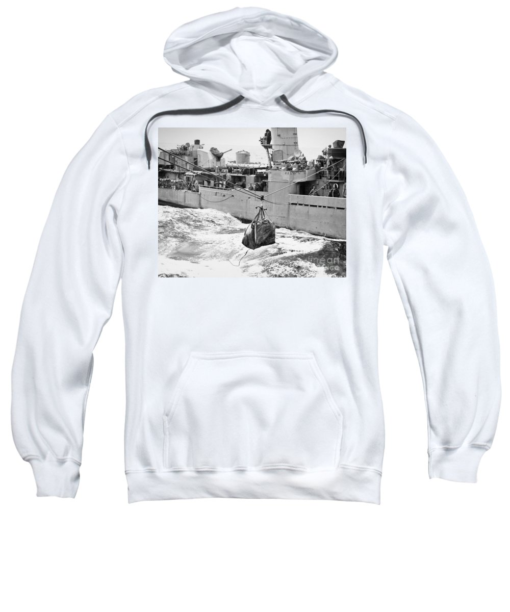 1953 Sweatshirt featuring the photograph Korean War: Navy Mailbag by Granger