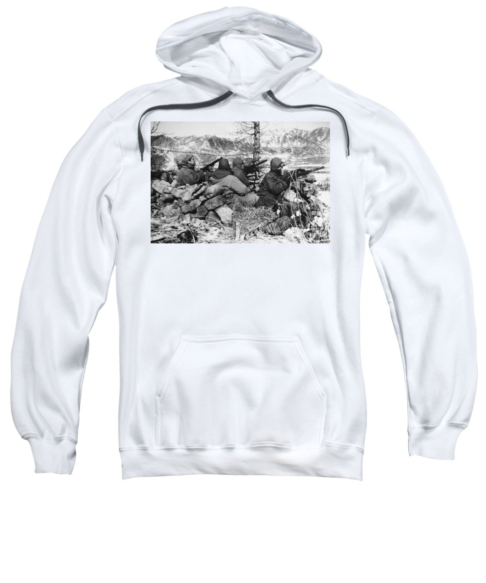 1950 Sweatshirt featuring the photograph Korean War: Soldiers by Granger