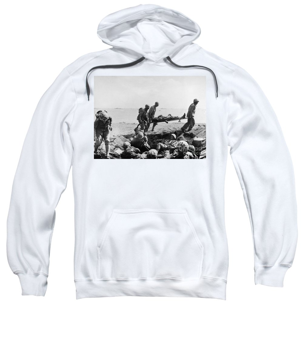 1950 Sweatshirt featuring the photograph Korean War: Wounded by Granger