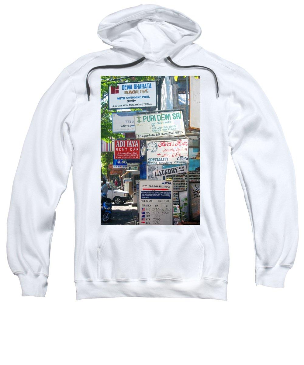 Bali Sweatshirt featuring the photograph Kuta Street Signs -- Bali by Mark Sellers