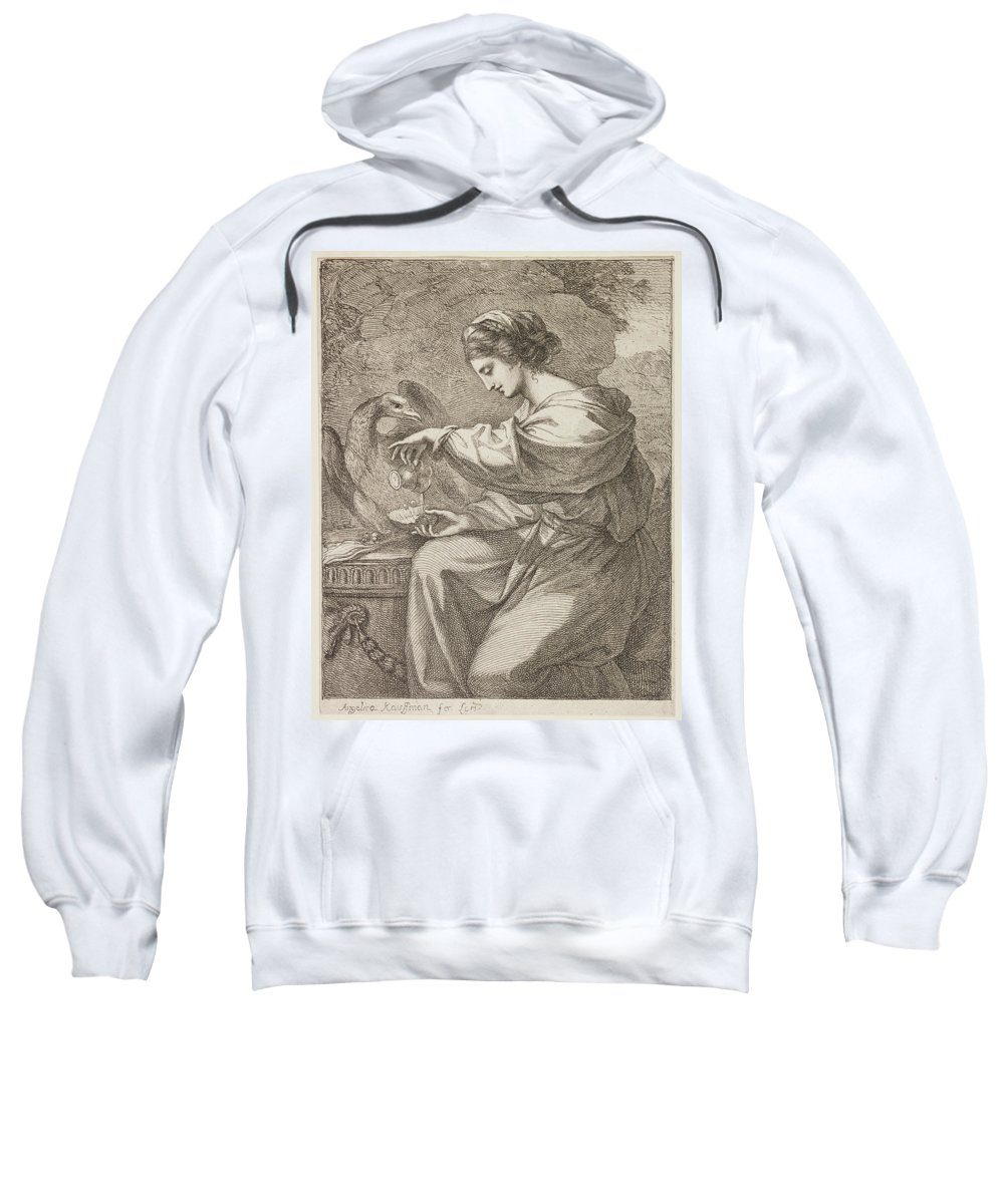 Lady And Eagle Sweatshirt featuring the painting Lady And Eagle by Angelica Kauffmann