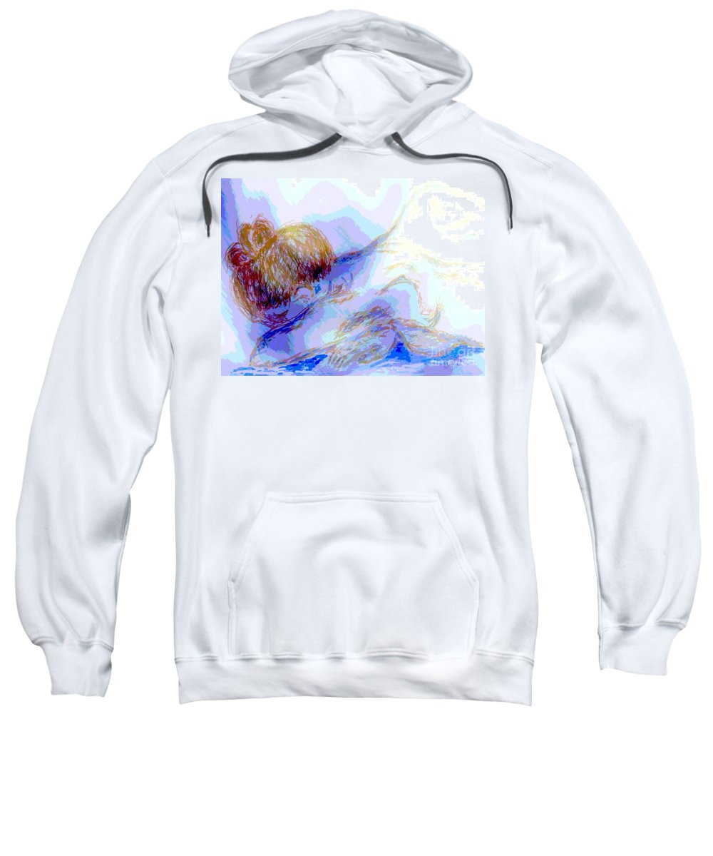 Lady Sweatshirt featuring the digital art Lady Crying by Shelley Jones