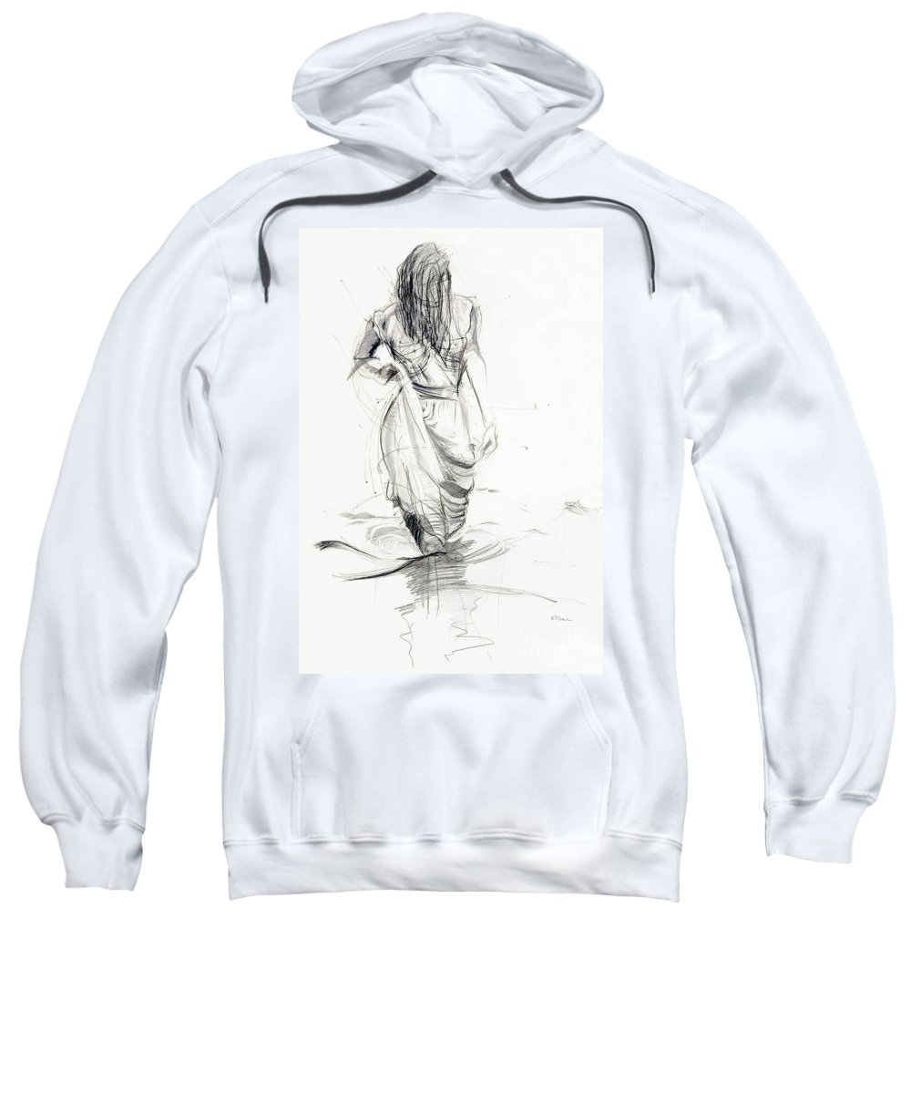 Woman Sweatshirt featuring the drawing Lady In The Waters by Kerryn Madsen-Pietsch