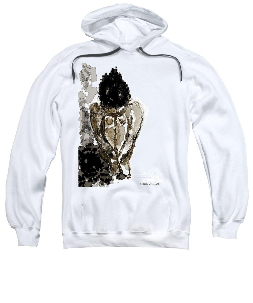 Lady Sweatshirt featuring the digital art Lady Sitting by Shelley Jones