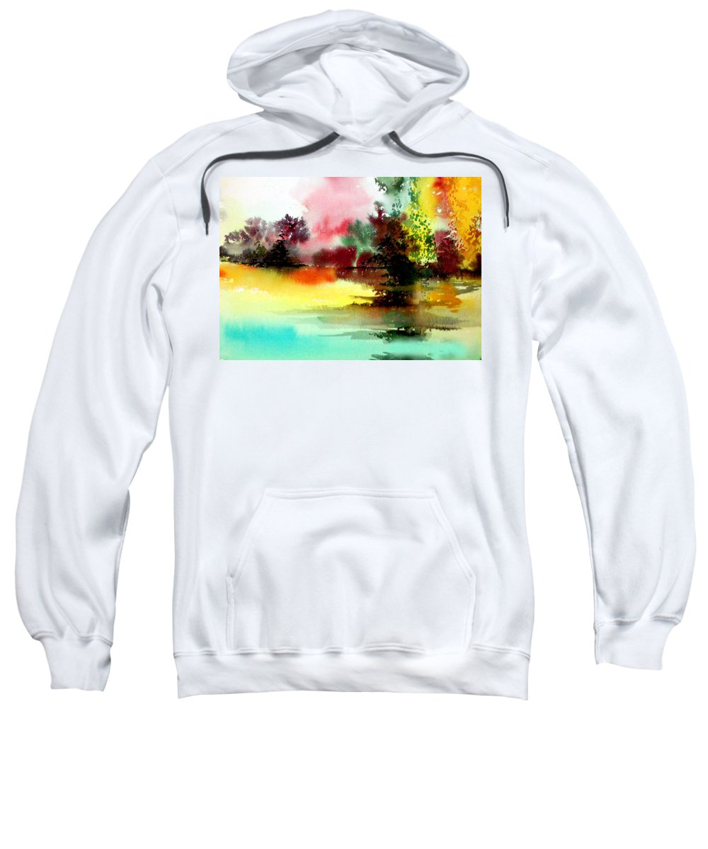 Nature Sweatshirt featuring the painting Lake In Colours by Anil Nene
