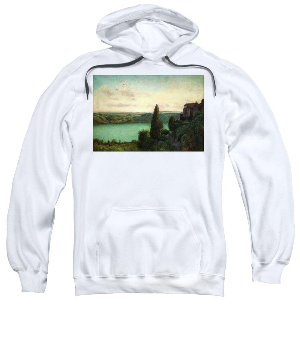 Marie Spartari Stillman Sweatshirt featuring the painting Lake Nemi by Marie Spartari Stillman