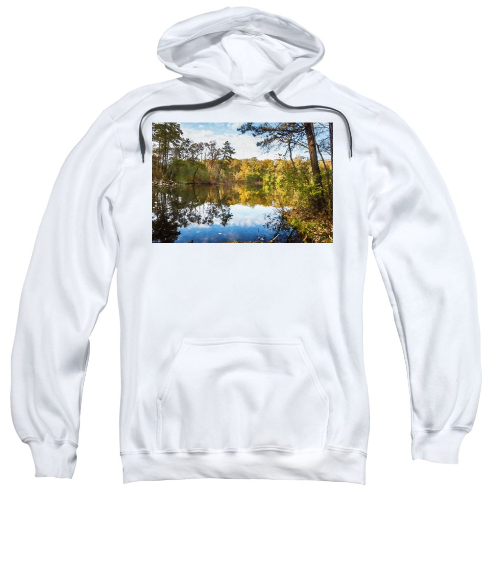 2d Sweatshirt featuring the mixed media Lake Waterford Fall - Watercolor Fx by Brian Wallace