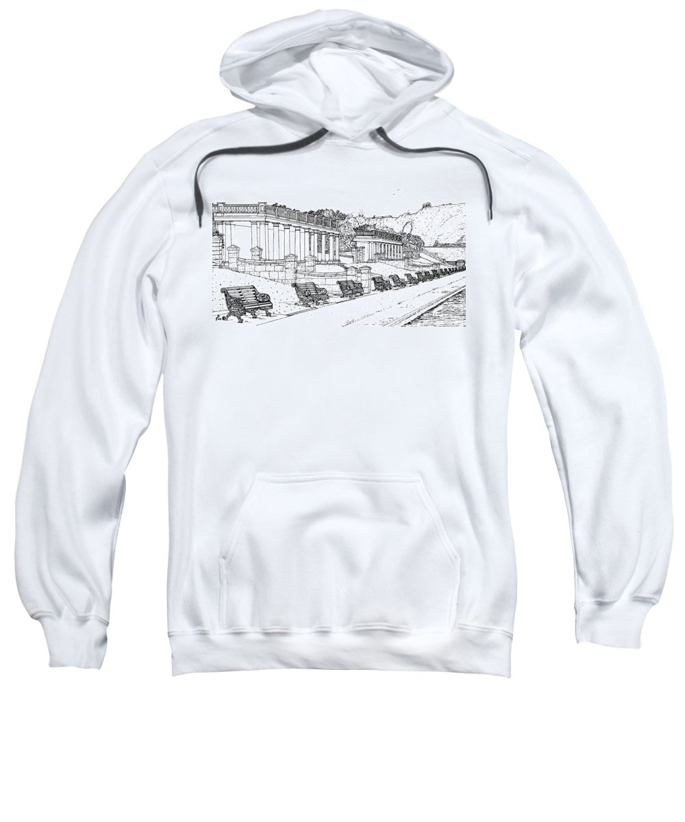 Scenic Drawing Sweatshirt featuring the drawing Lakeside. Barry by Frank Hamilton