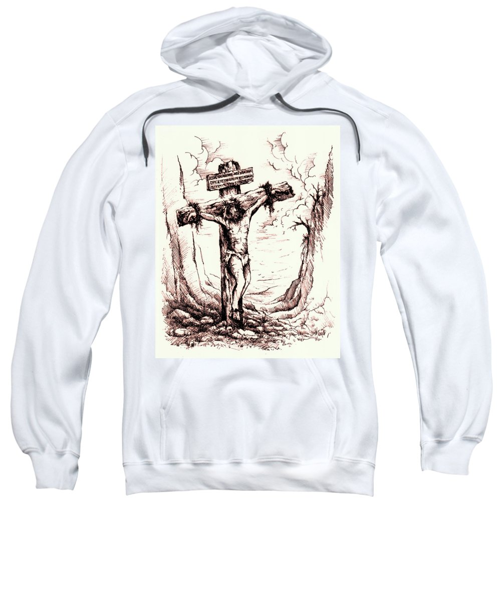 Christ Sweatshirt featuring the drawing Lamb Of God by Rachel Christine Nowicki