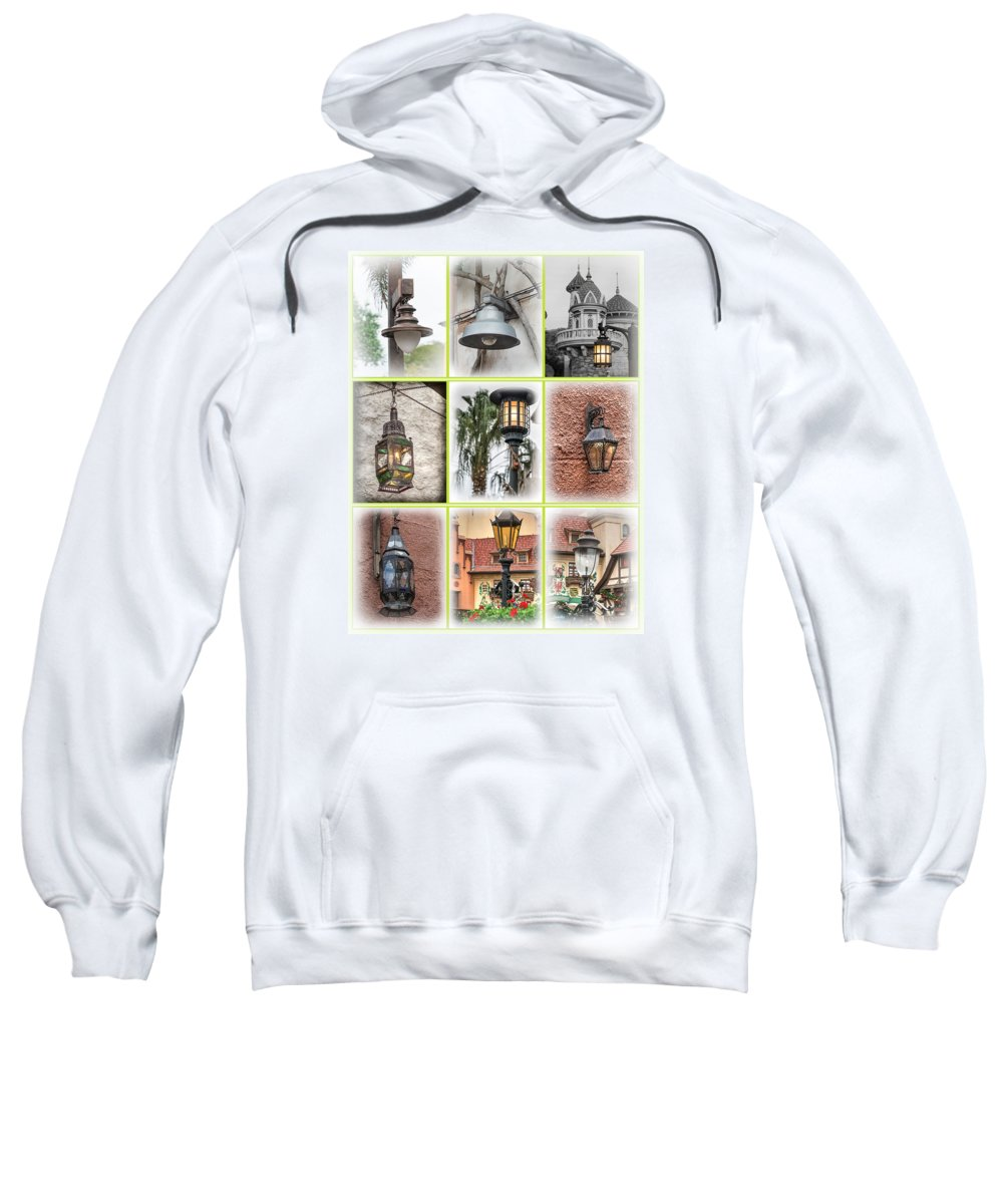 Lights Sweatshirt featuring the photograph Lamps Of Disney by Steve Seeger