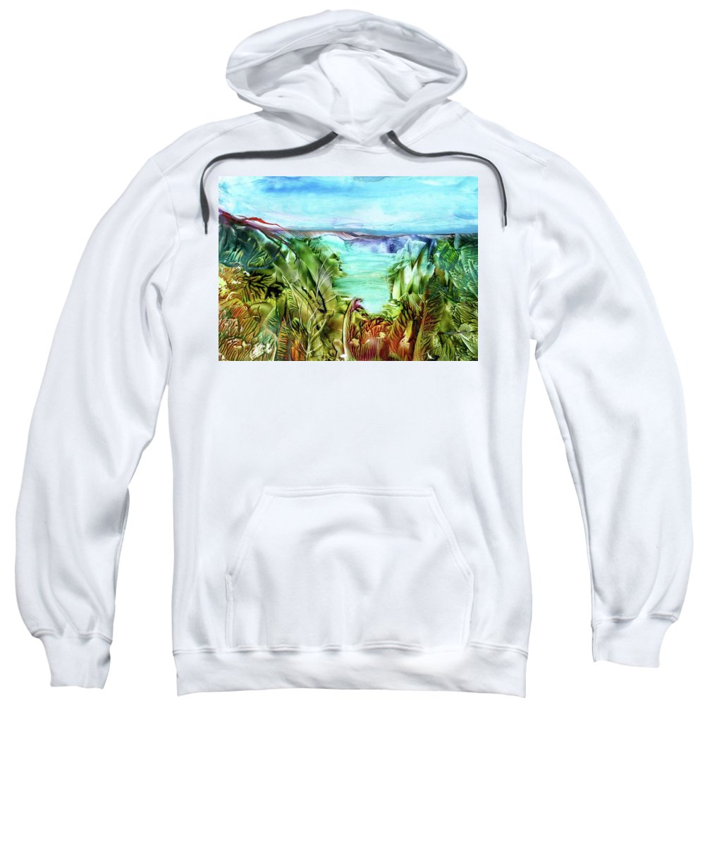 Sea Sweatshirt featuring the painting Land Sea And Sky by Angelina Whittaker Cook