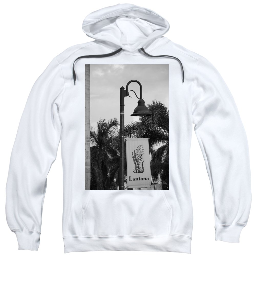 Black And White Sweatshirt featuring the photograph Lantana Lamp Post by Rob Hans