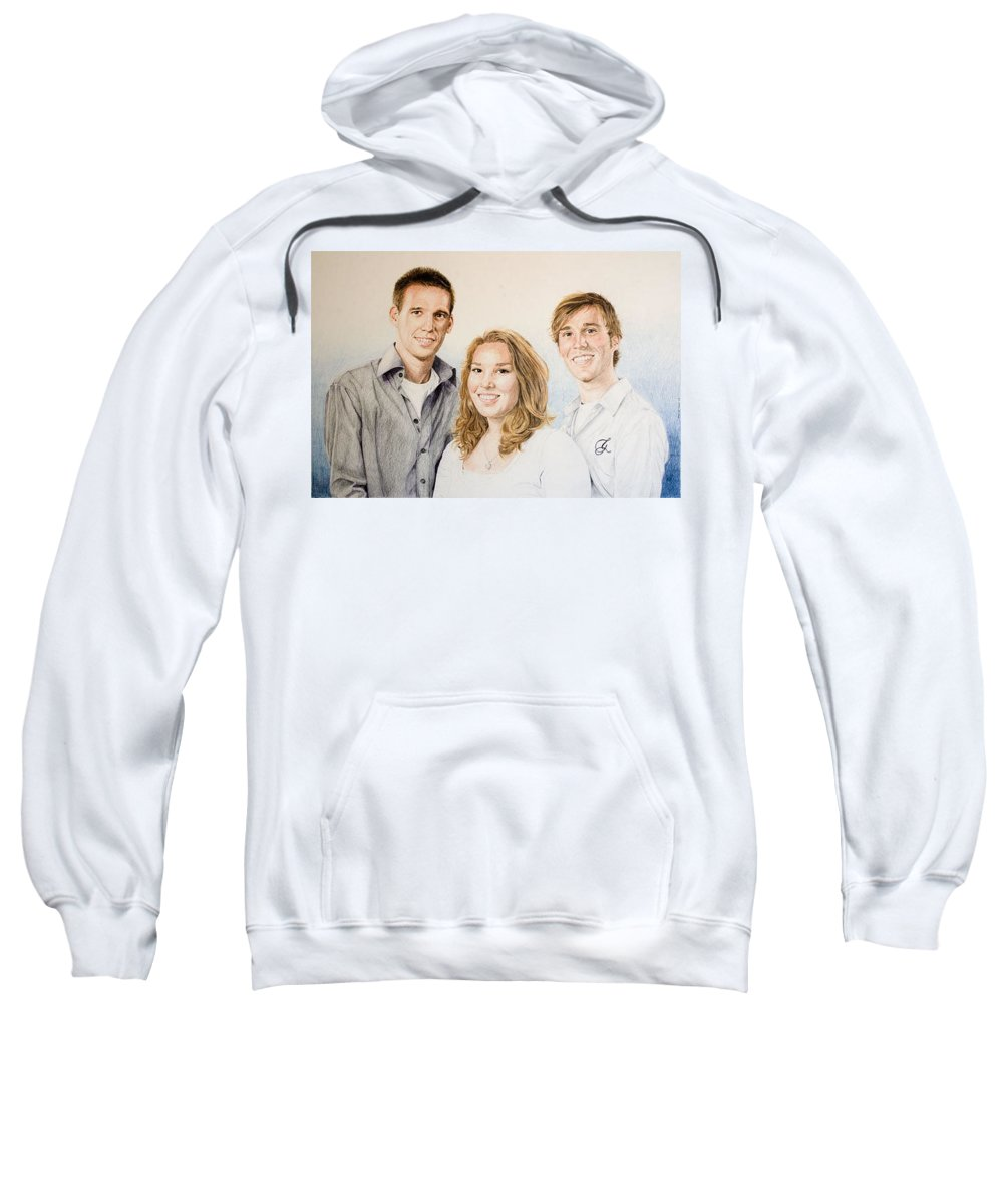 Portrait Sweatshirt featuring the drawing Lars Niels And Ilse by Rob De Vries