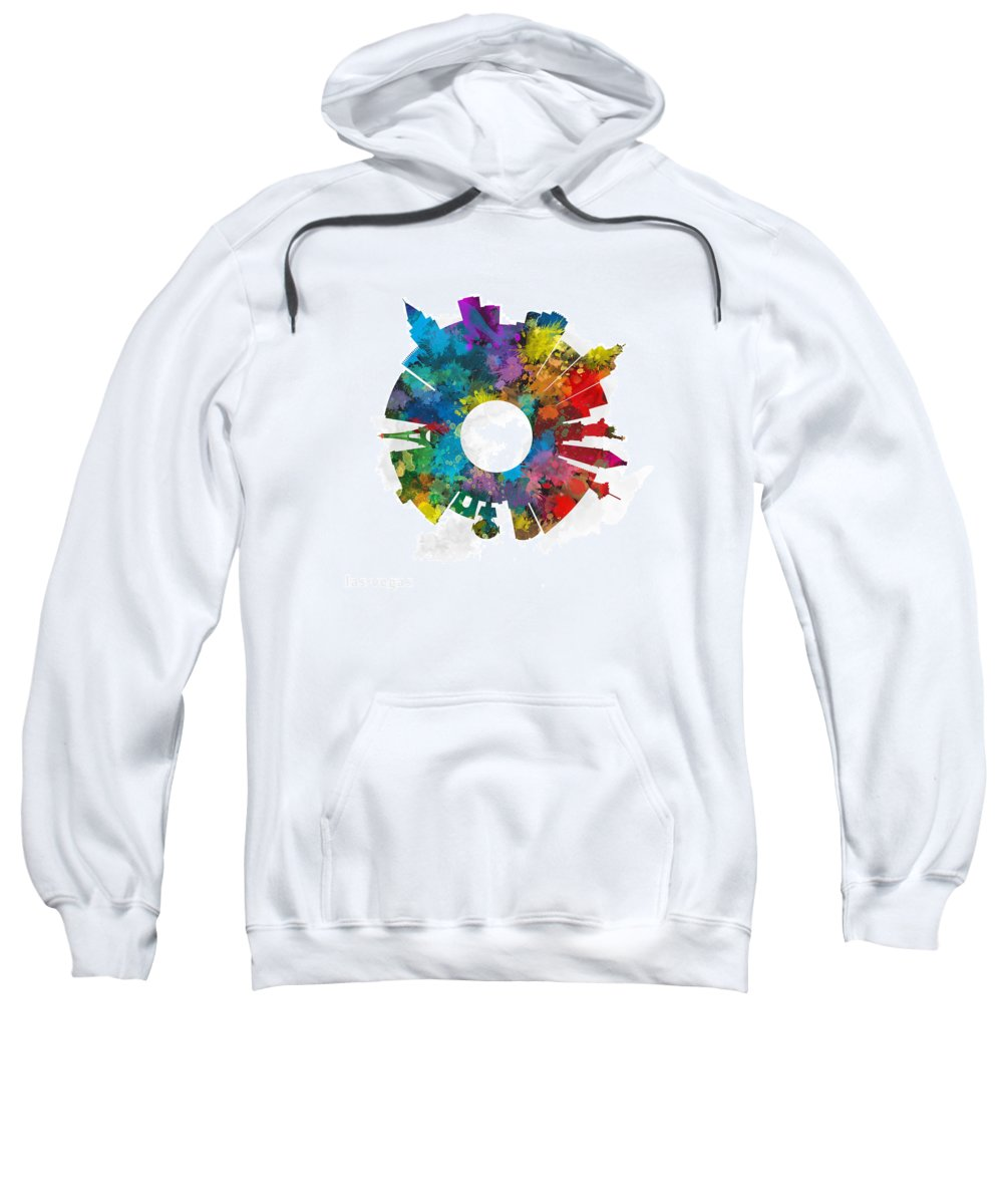Map Sweatshirt featuring the digital art Las Vegas Small World Cityscape Skyline Abstract by Jurq Studio