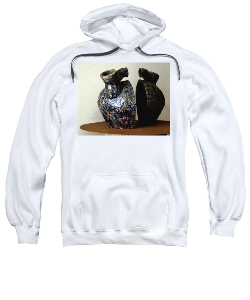 Ceramic Sweatshirt featuring the sculpture Las Venas Abiertas De America Latina by Madalena Lobao-Tello