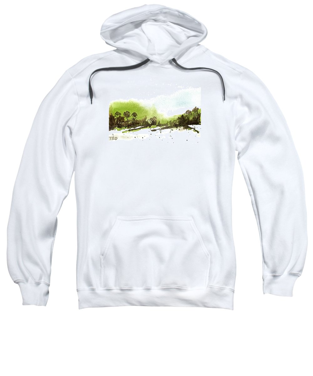 Snow Sweatshirt featuring the painting Last Green Of The Season by Tonya Doughty