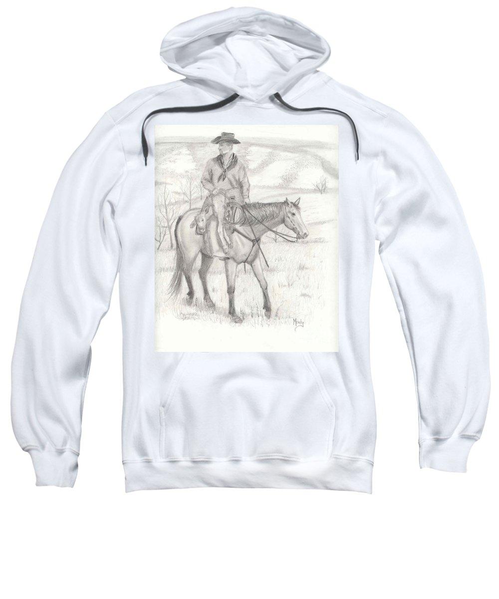 Horse Sweatshirt featuring the drawing Last One In by Mendy Pedersen